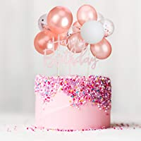 Rose Red Balloon Cloud Cake Topper, Mini Balloon Garland Cake Topper Confetti Balloon Acrylic Happy Birthday Cupcake Topper For Birthday Cake Supplies Decorations