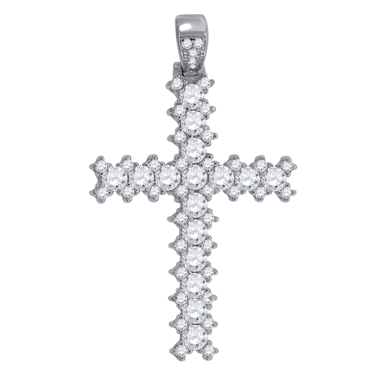 Saris and Things 925 Sterling Silver Womens Round Cubic Zirconia CZ Cross Religious Fashion Charm Pendant