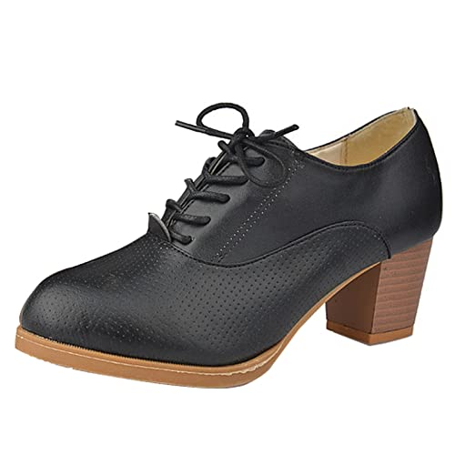 cc27fe6e3e1 Women Ladies Retro Block Heel Lace Up Mid Chunky Heels Office Work Court  Shoes Brogue Oxford