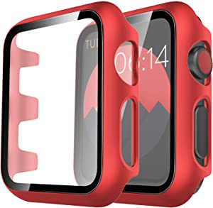 Tauri 2 Pack Hard Case Compatible for Apple Watch Series 3 2 1 42mm Built in 9H Tempered Glass Screen Protector Slim Bumper Touch Sensitive Full Protective Cover Compatible for iWatch 42mm - Red