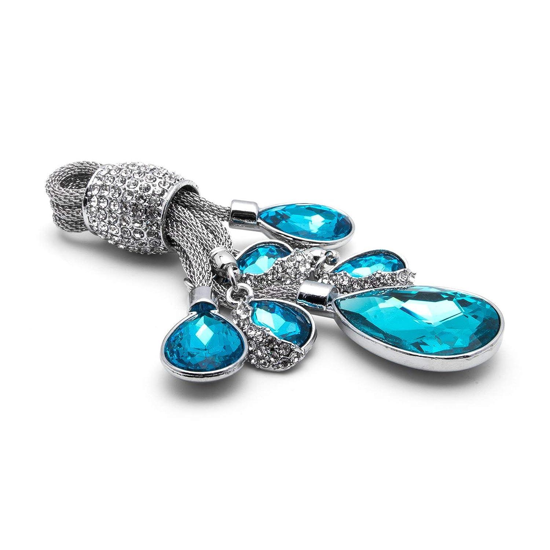 Flaming Rhinestone Crystal Water-Drop Teardrop Diamond Car Home Keychain Ring for Girls Ladies Red Xotic Tech Universal Key Chain Ring