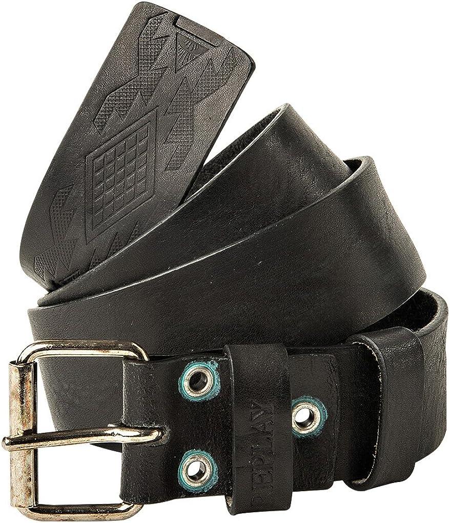 Replay Men's Belt, cuero real con hebilla de metal, logotipo - negro