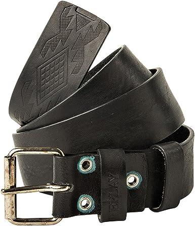 Replay Black Embossed Logo Leather Belt 95 Black
