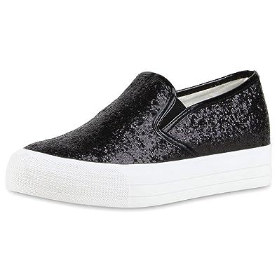SCARPE VITA Damen Plateau Glitzer Slip-Ons Sneakers Modische Slipper 164112 Schwarz 37 EQTwRg