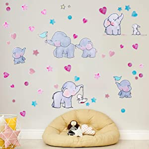 2 Sheets Elephant Wall Decals, Cute Elephant Family Bunny Stars Love Wall Sticker, Removable Animal Wall Art Decor for Children Bedroom Nursery Living Room Family Background Decoration