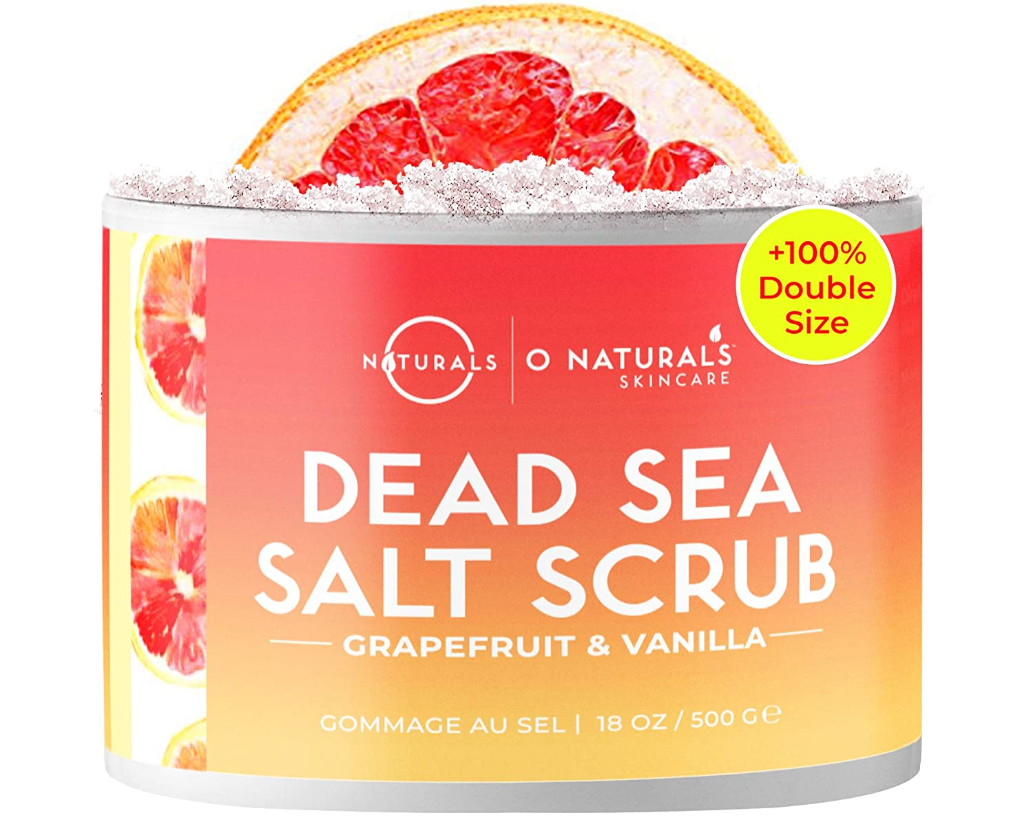 O Naturals Exfoliating Dead Sea Salt Grapefruit Essential Oil Face Body & Foot Scrub. w/Vanilla &. Hydrating Exfoliate Dead Skin, Best Anti Cellulite Acne Ingrown Hairs Corns, Men & Women Scrub 18oz