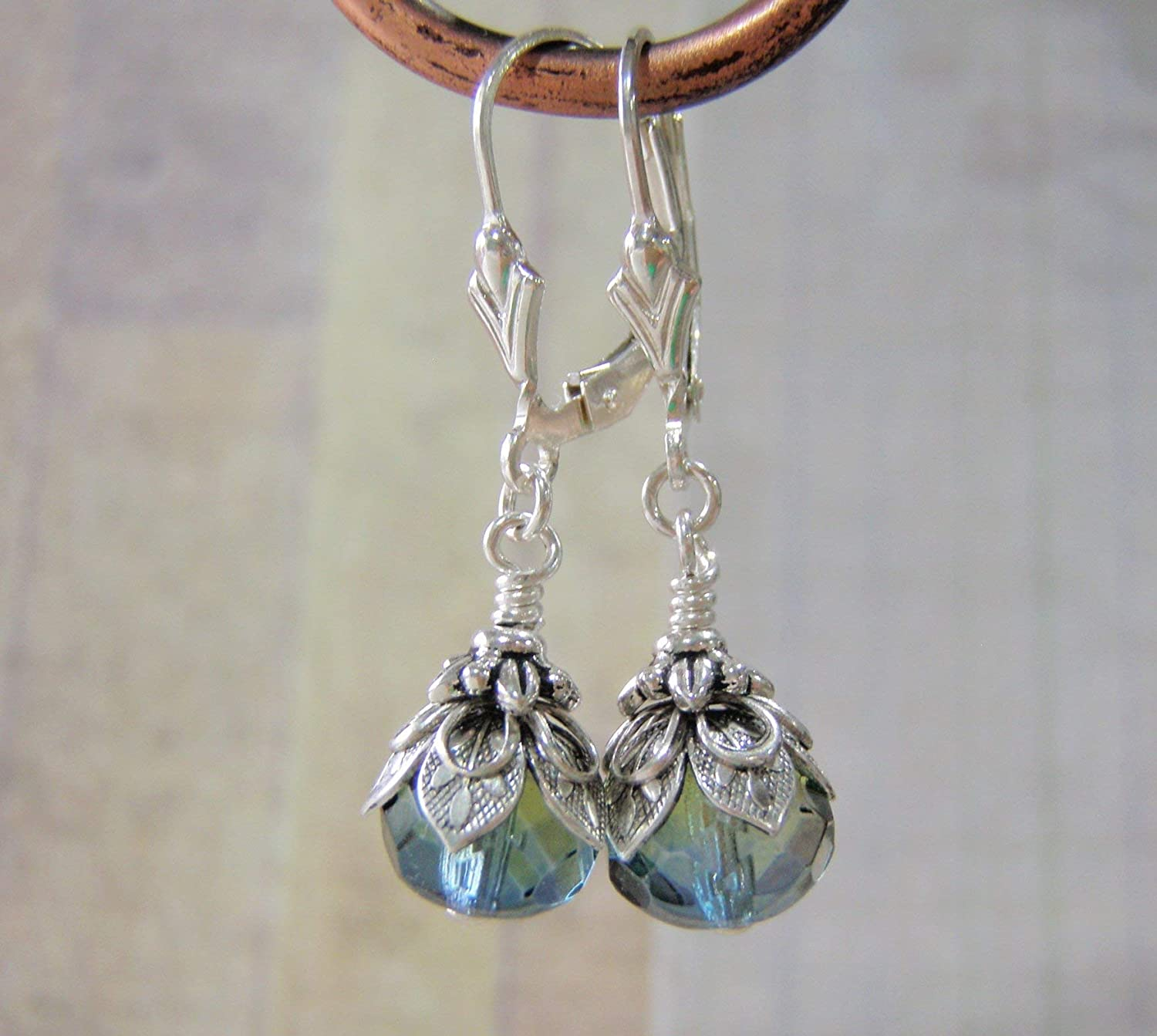 Sea Witch Earrings Sterling Silver Art Deco Lever Back Ear Wire 9x6mm Blue and Green Glass Dangle Handmade