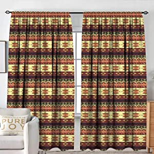 "NUOMANAN Kitchen Curtains Native American,Traditional Arrow Figures Triangles Flying Birds with Roses Colored Borders,Multicolor,Darkening and Thermal Insulating Drapes 60""x84"""