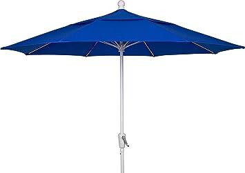 FiberBuilt Umbrellas Patio Umbrella, 7.5 Foot Pacific Blue Canopy And White  Pole