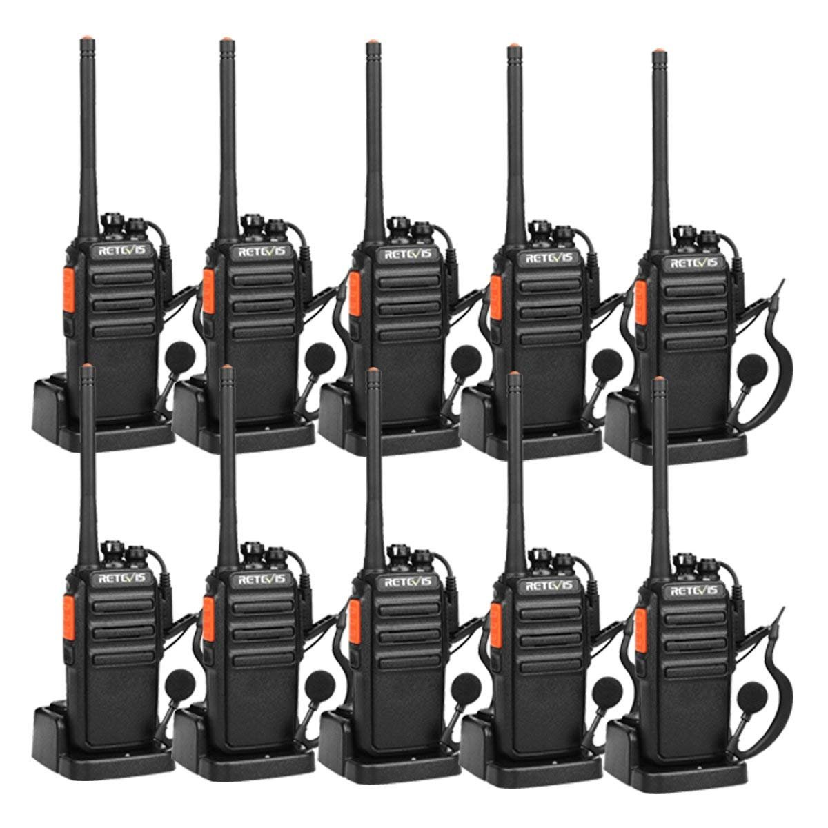 Retevis H-777S Two-Way Radios Long Range Rechargeable FRS Radio Vox Security Commercial Walkie Talkies with Earpiece Headset for Adults (10 Pack) by Retevis