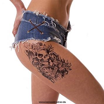 Hombres Tattoo Negro brazo Brazo tatuaje pegatinas rosas Calavera hb049, 1: Amazon.es: Hogar