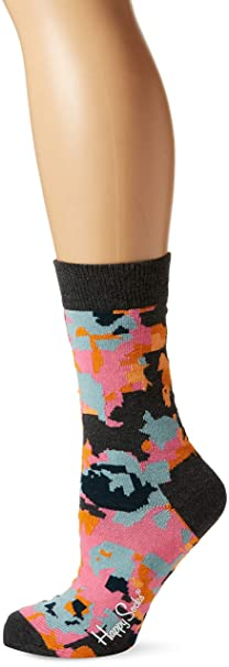 Happy Socks Flower Sock, Calcetines Casual para Mujer, Negro (Schwarz 9000),