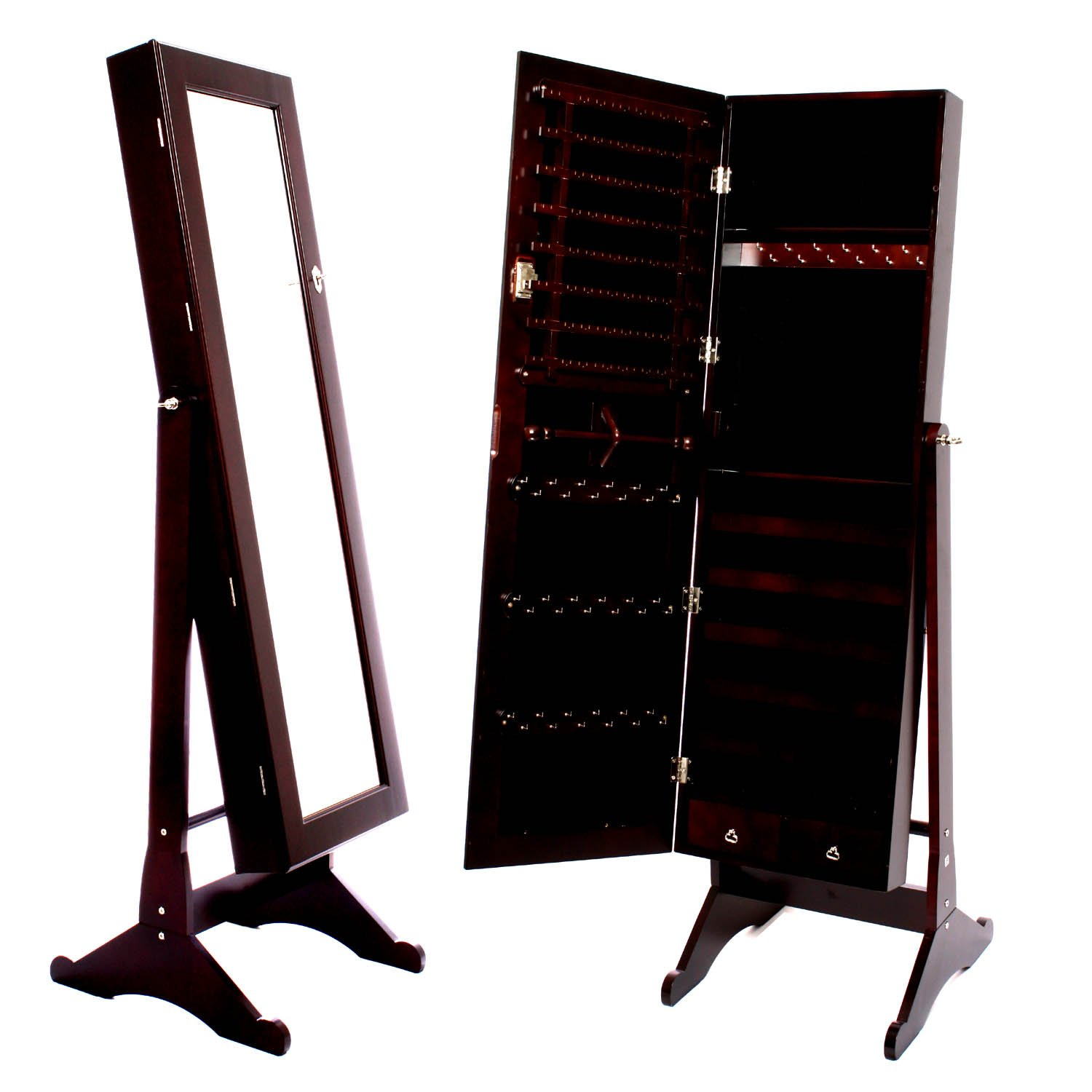Mirrored Jewelry Cabinet Armoire Amazoncom Espresso Dark Brown Mirrored Jewelry Cabinet Armoire