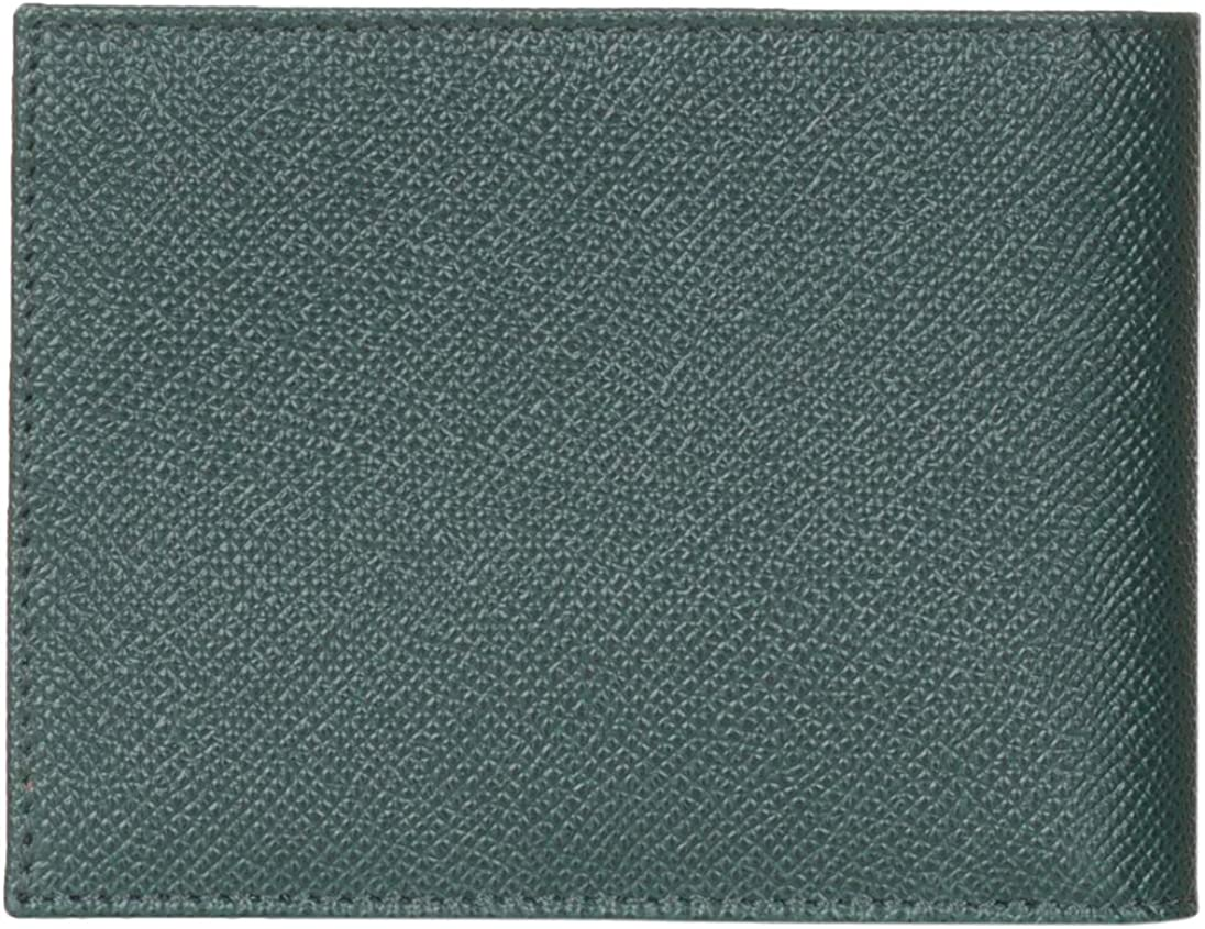 Dolce /& Gabbana Green Pebbled Leather Logo Plaque Rose Print Bi Fold Wallet
