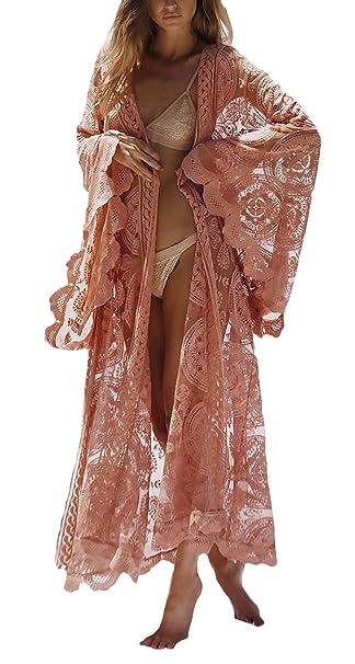 Cardigan Mujer Primavera Elegantes Verano Moda Abrigos Encaje Manga Larga Color Sólido Ropa Transparentes con Cinturón Boho Abrigo Chaqueta Casual Cómodo ...
