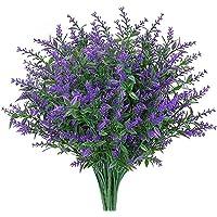 8 Bundles Artificial Flowers Fake Lavender Flowers UV Resistant Shrubs Plants No Fade Faux Plastic Greenery for Home…