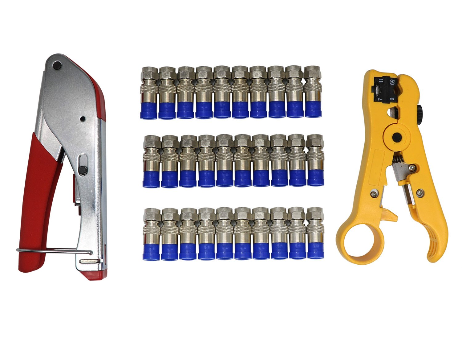 Coax Cable Crimper Kit Tool for RG6 RG59 Coaxial Compression Tool Fitting Wire Stripper with 30 PCS F Compression Connectors