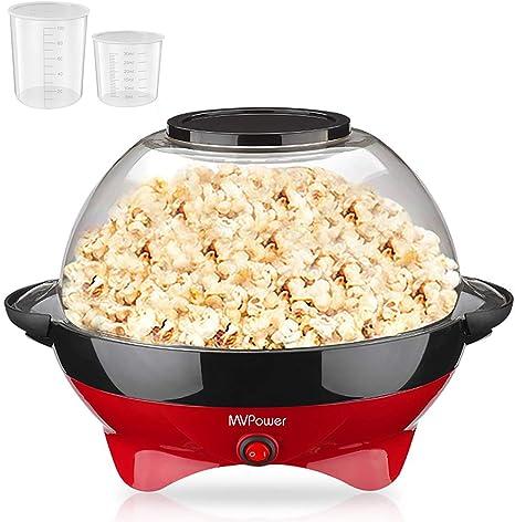 MVPower Máquina de Palomitas, 800W Popcorn Maker, Superficie de Calentamiento Extraíble Recubrimiento Antiadherente, Tapa Grande, con 2 Tazas de ...