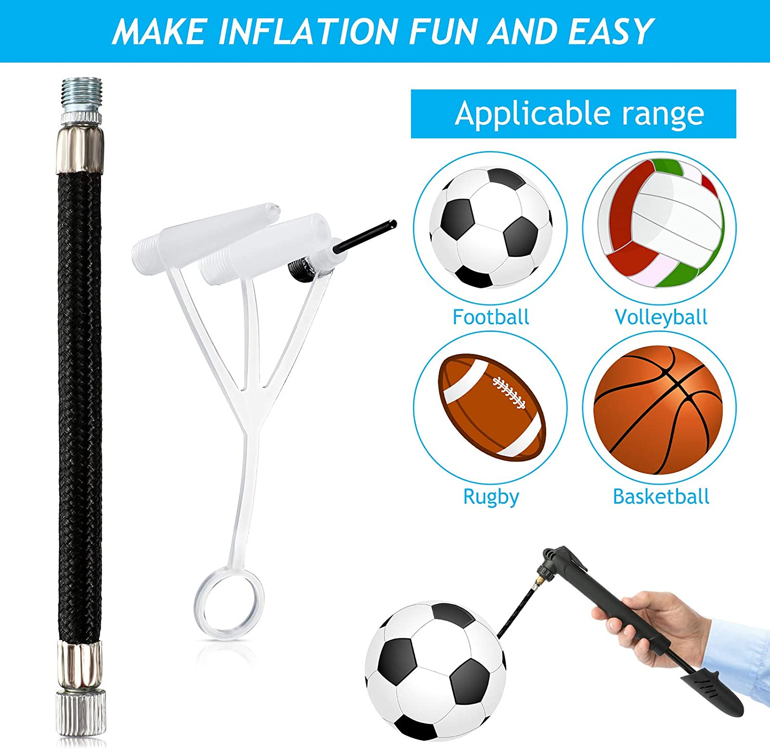 Extension Hose Nozzle Exercise Ball Air Stopper Plug Pin for Yoga Ball Soccer Basketball Football Volleyball Rubber Boat Balloon Swim Inflatables 16 Exercise Ball Plug Replacement Kit with Needle