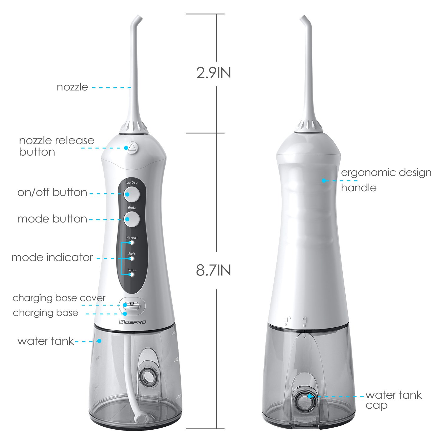 Water Flosser Professional Cordless Dental Oral Irrigator - Portable and Rechargeable IPX7 Waterproof 3 Modes Water Flossing with Cleanable Water Tank for Home and Travel, Braces & Bridges Care by MOSPRO (Image #7)