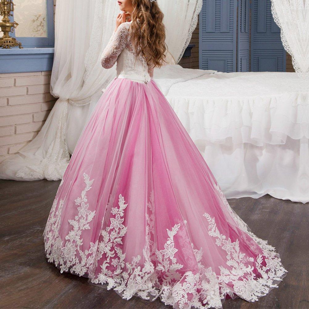 ibtom castillo niña piso de las flores clásico Prom Aplique largo de ...