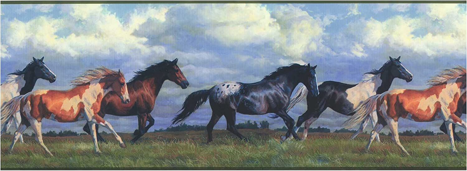 Amazon Com York Wallcoverings Nv9448bsmp Lake Forest Lodge Horses