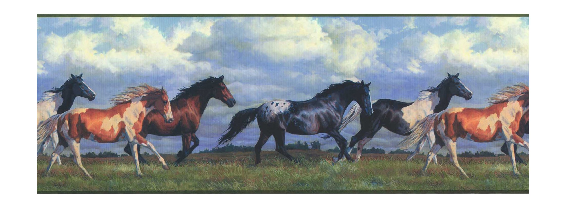 York Wallcoverings Lake Forest Lodge NV9448B Horses Running Free Border, Multi/Green Band