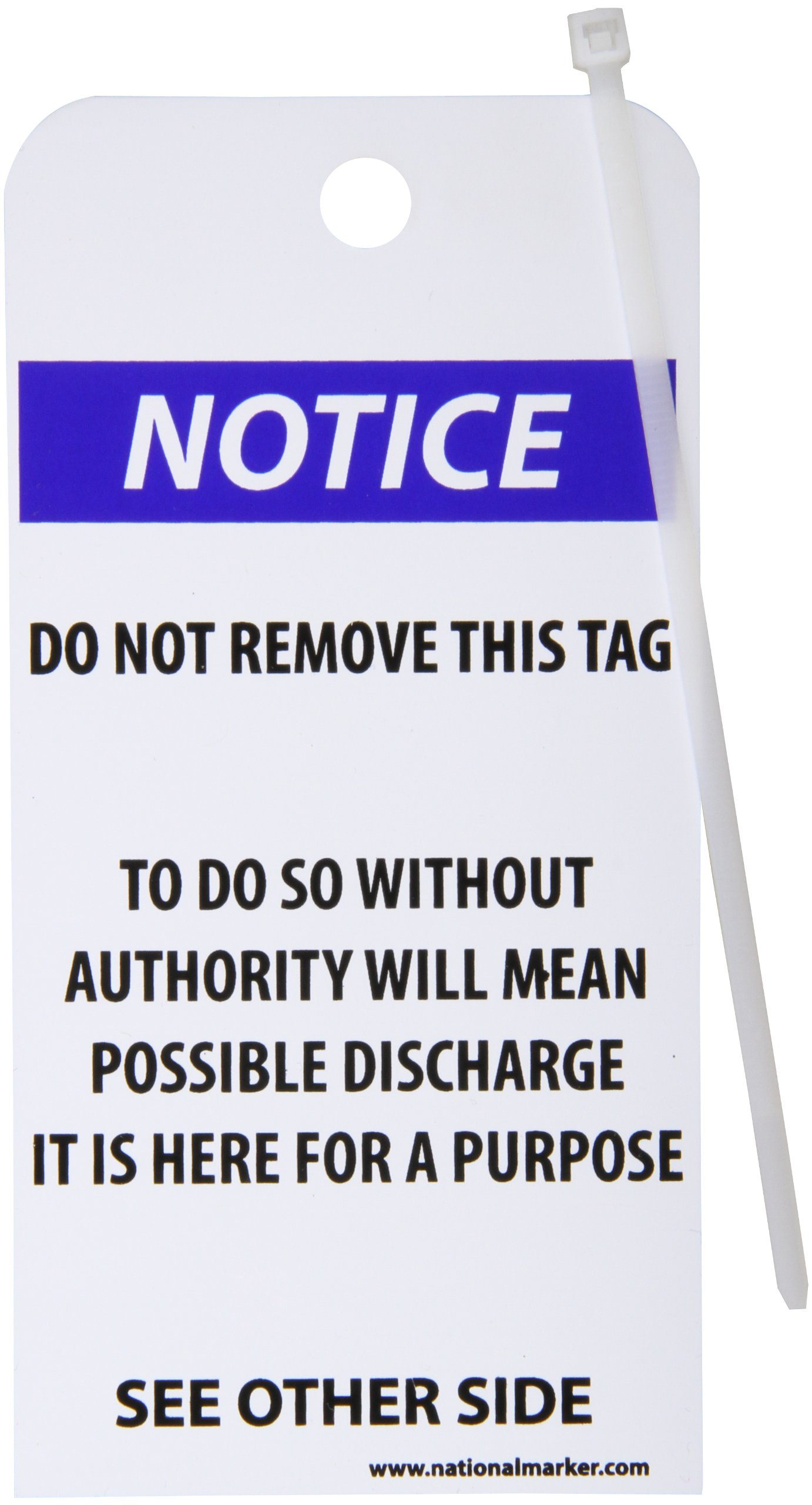 NMC RPT38''Notice'' Accident Prevention Tag, Unrippable Vinyl, 3'' Length, 6'' Height, Black/Blue on White (Pack of 25)