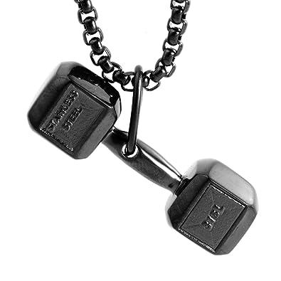 LAMUCH Collar colgante negro Aptitud Gimnasio con mancuernas de peso del acero inoxidable unisexo para mujer para hombre: Amazon.es: Joyería