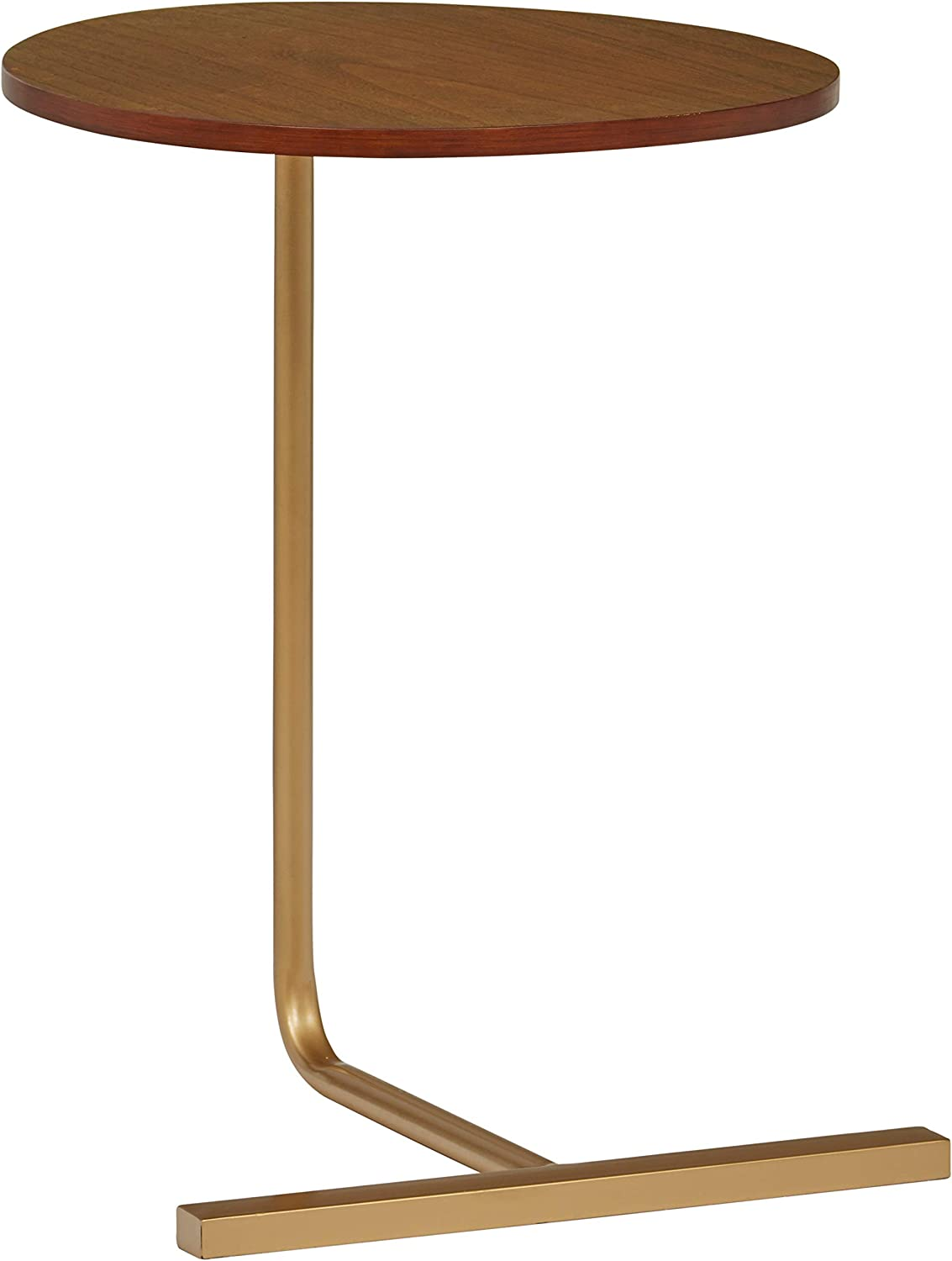 Amazon Brand – Rivet Modern End Table, 19.3 Inch Width, Natural and Gold