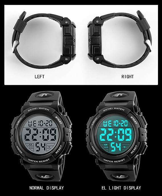 Amazon.com: Mens Womens Sports Quartz Watches Alarm Chrono EL Light Calendar 12/24 Hours Black Watch: Watches