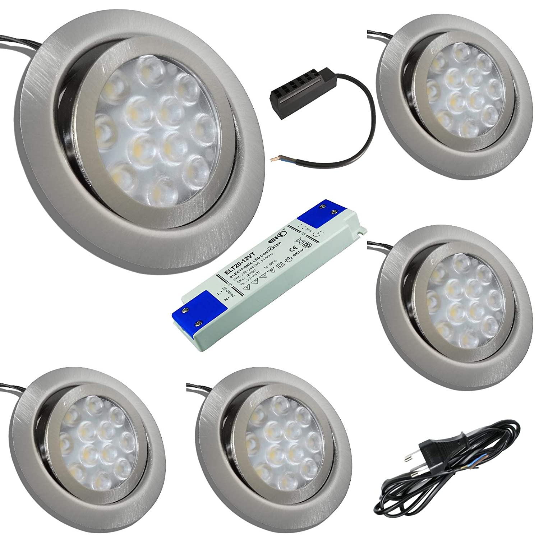 5 Stück 12 Volt LED Möbeleinbauspot Finja 3 Watt inkl. LED Trafo und 230 Volt Zuleitung mit Eurostecker