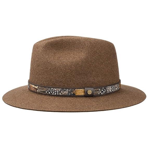9b80282d210 Stetson Feather Trim Traveller Felt Hat Wool Outdoor  Amazon.co.uk  Clothing