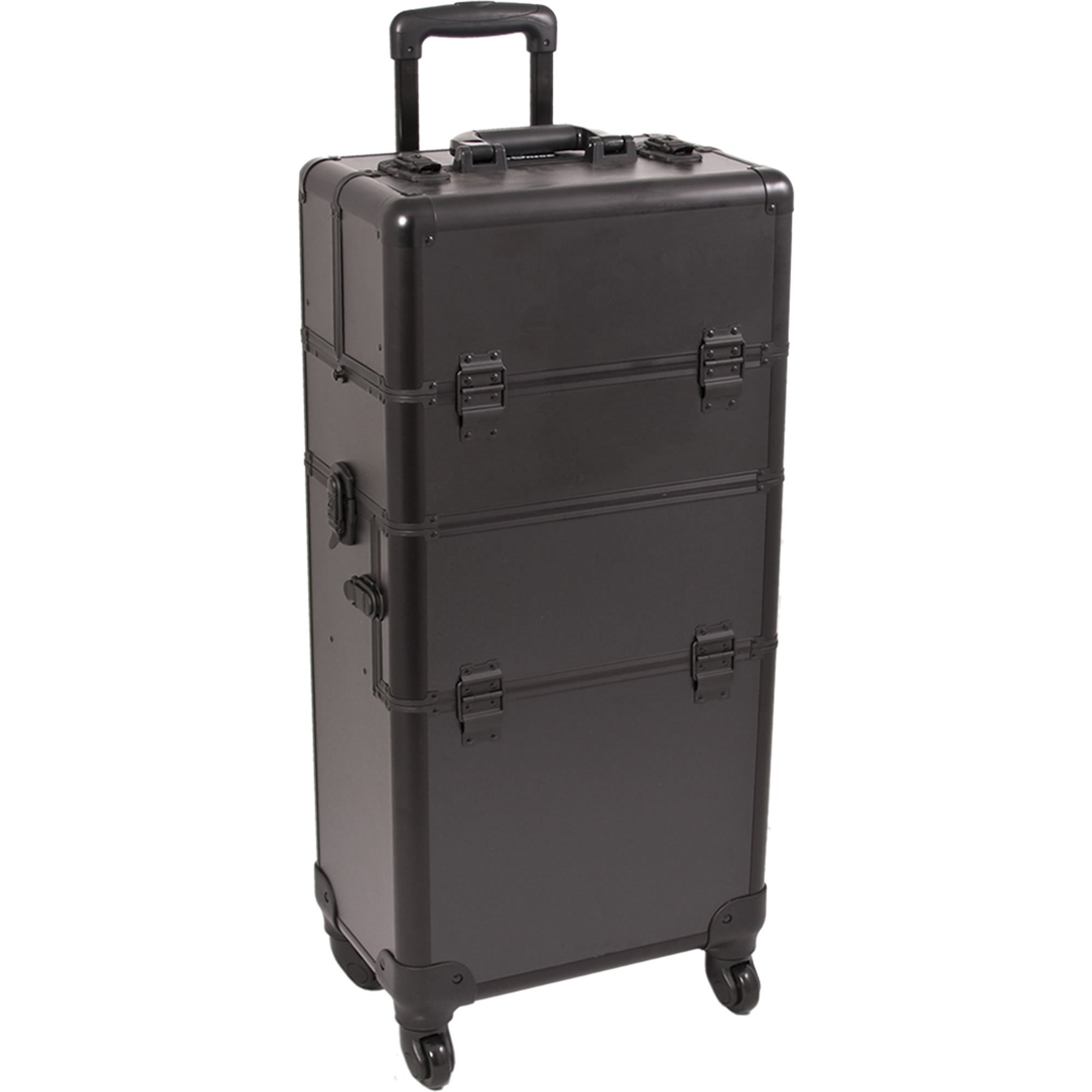 SUNRISE Makeup Case on Wheels 2 in 1 I3561 Hair Stylist Professional, 3 Trays and 1 Removable Tray, Locking with 2 Mirrors, Brush Holder and Shoulder Strap, Black Matte by SunRise