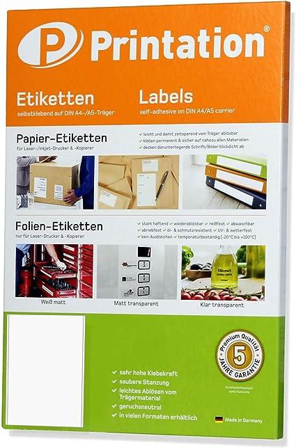 200 Bögen Etiketten 70 x 29,7 mm je 30 Sticker auf DIN A4 selbstklebend weiß