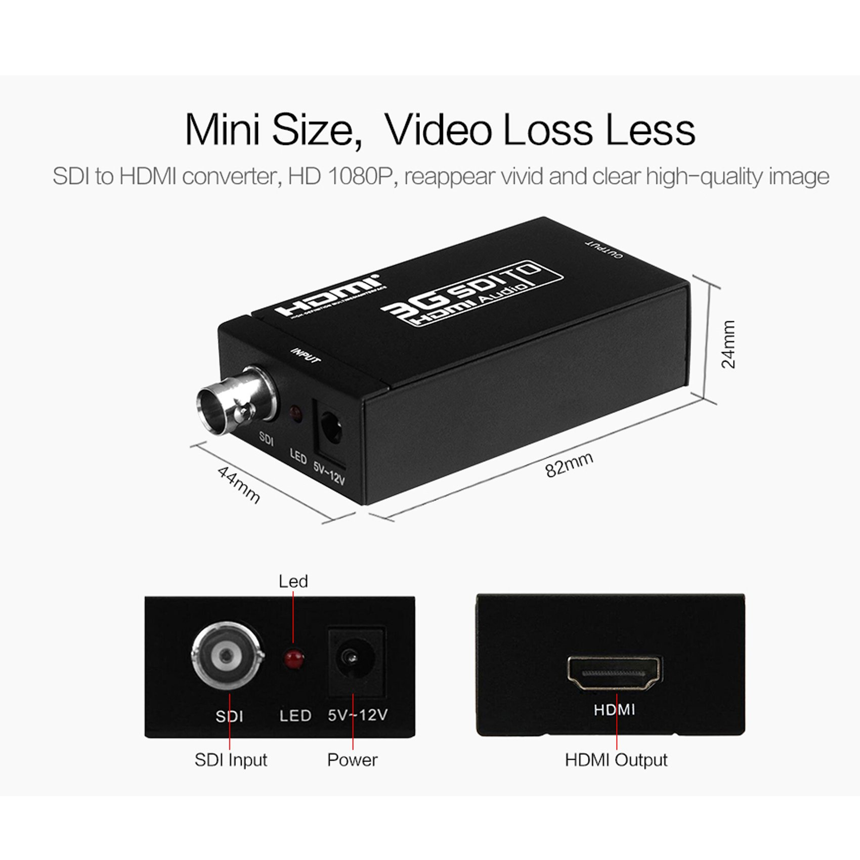 Basicolor SDI to HDMI Converter Mini 3G SDI HDMI Adapter with BNC Coaxical Support Full HD 1080p SD-SDI/HD-SDI/3G-SDI to HDMI Adapter Mini HD Video Convert for Camera PC Home Theater (Black) by Basicolor (Image #2)