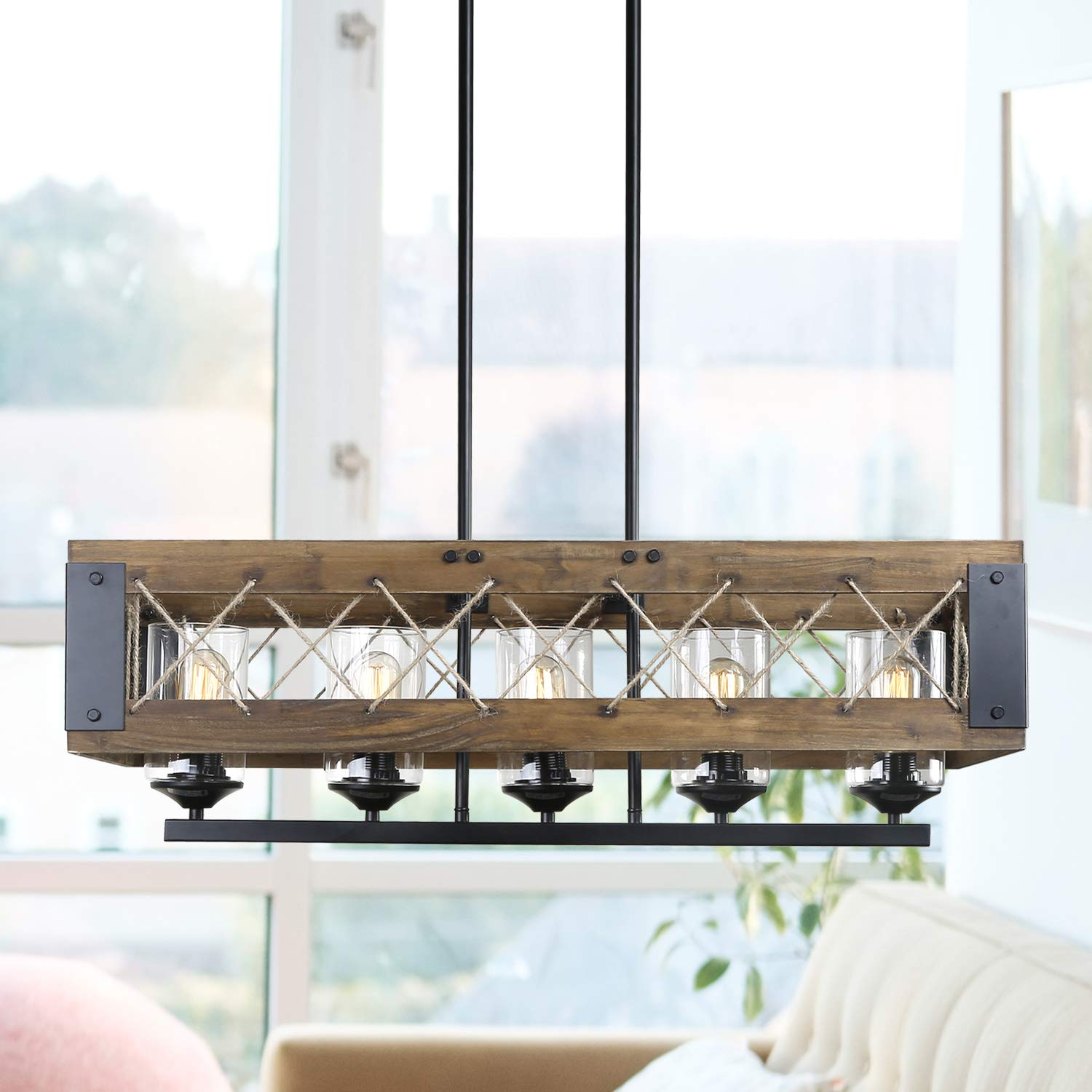 """Wood Kitchen Island Chandelier Light, Farmhouse Pendant Lighting, Hanging Fixture for Dining Room, 32""""L x 10""""H"""