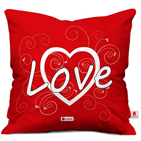 Buy Indigifts Love Quote Red Cushion Cover 18x18 Inches Valentine