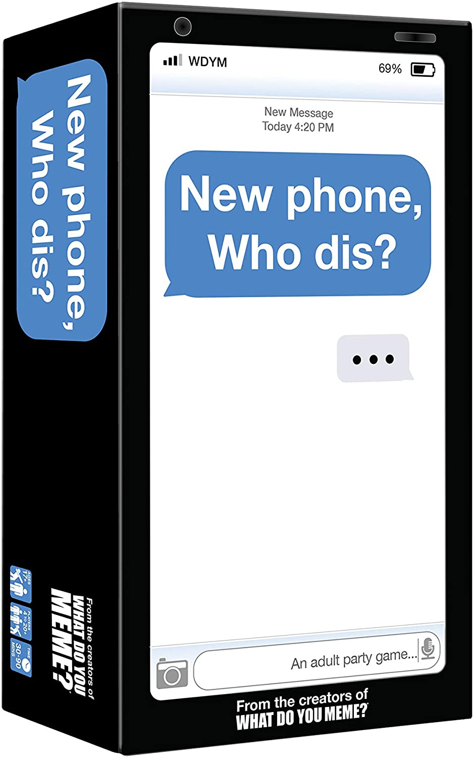 "Image of an adult game card set called ""New Phone, who this?"" in a box"