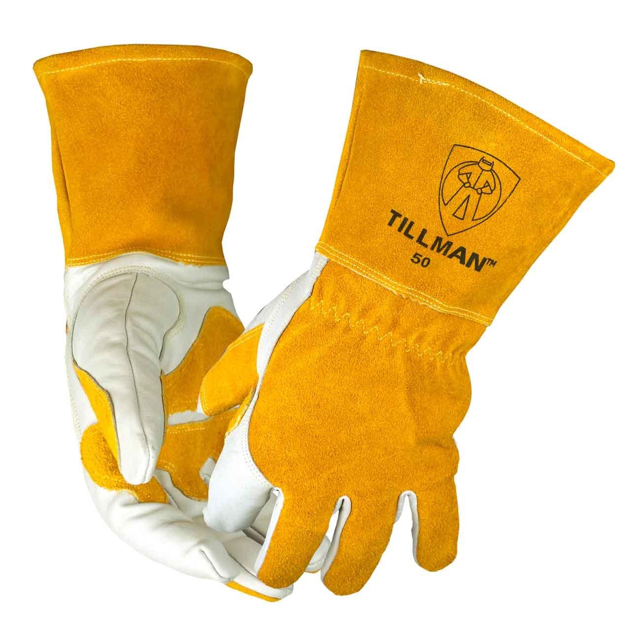Tillman 50 Top Grain Split Cowhide Fleece Lined MIG Welding Gloves, Sm