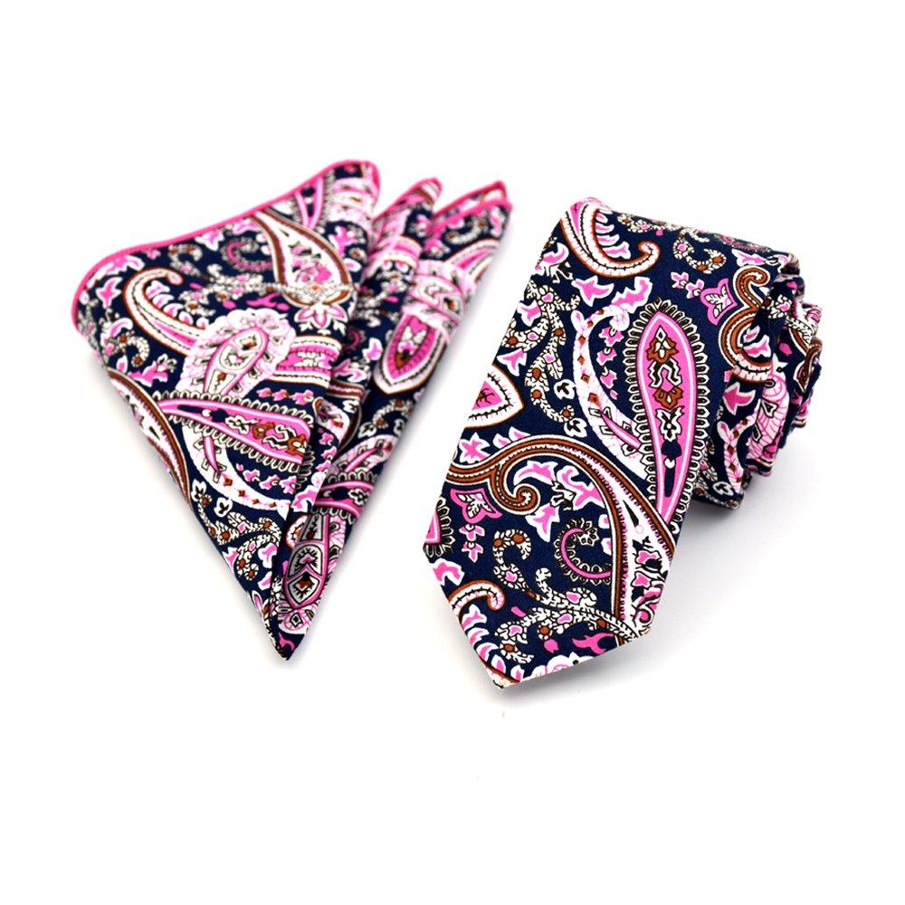 JOOWEN Mens 6CM Skinny Ties 100/% Cotton Printed Floral Necktie /& Pocket Square Set