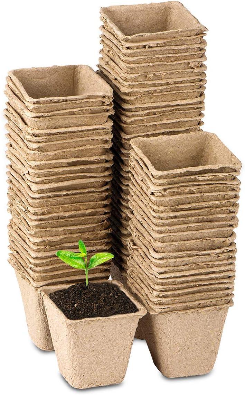3 Inch Square Plant Starter Peat Pots for Seedings Organic Biodegradable Seed Starter Pots, Bulk 80 Pack