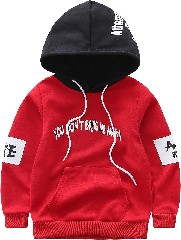 Kimocat Kids Baby Boys 2pcs Fashion Streetwear Red Hooded Top You Dont Bring Me Away Hoodies+Pants Clothing 1-5Y
