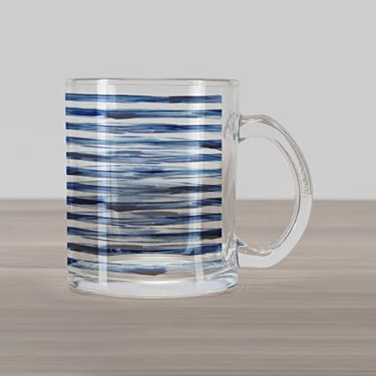 99878765eb3 Ambesonne Harbour Stripe Glass Mug, Watercolor Style Paintbrush Stripes Sea  Marine Life Symbol Lines Image