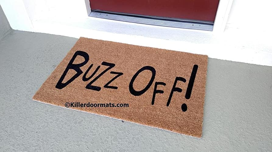 Amazon.com Buzz Off! Custom Doormat Size Large by Killer Doormats Handmade & Amazon.com: Buzz Off! Custom Doormat Size Large by Killer ... pezcame.com