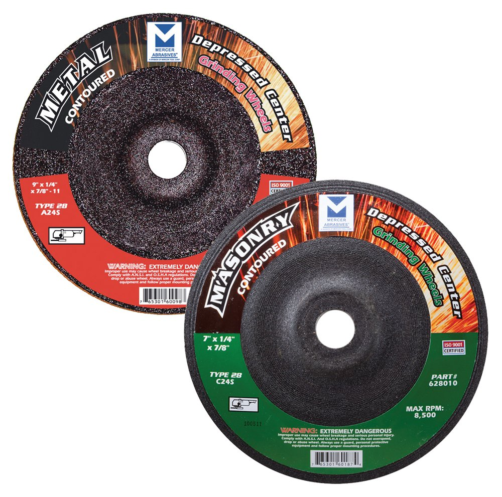 Mercer Industries 625020 Type 28 Contoured Grinding Wheel for Metal, 7'' x 1/4'' x 5/8''–11 (10 pack) 7 x 1/4 x 5/8–11 (10 pack) Mercer Tool Corp. - Tools