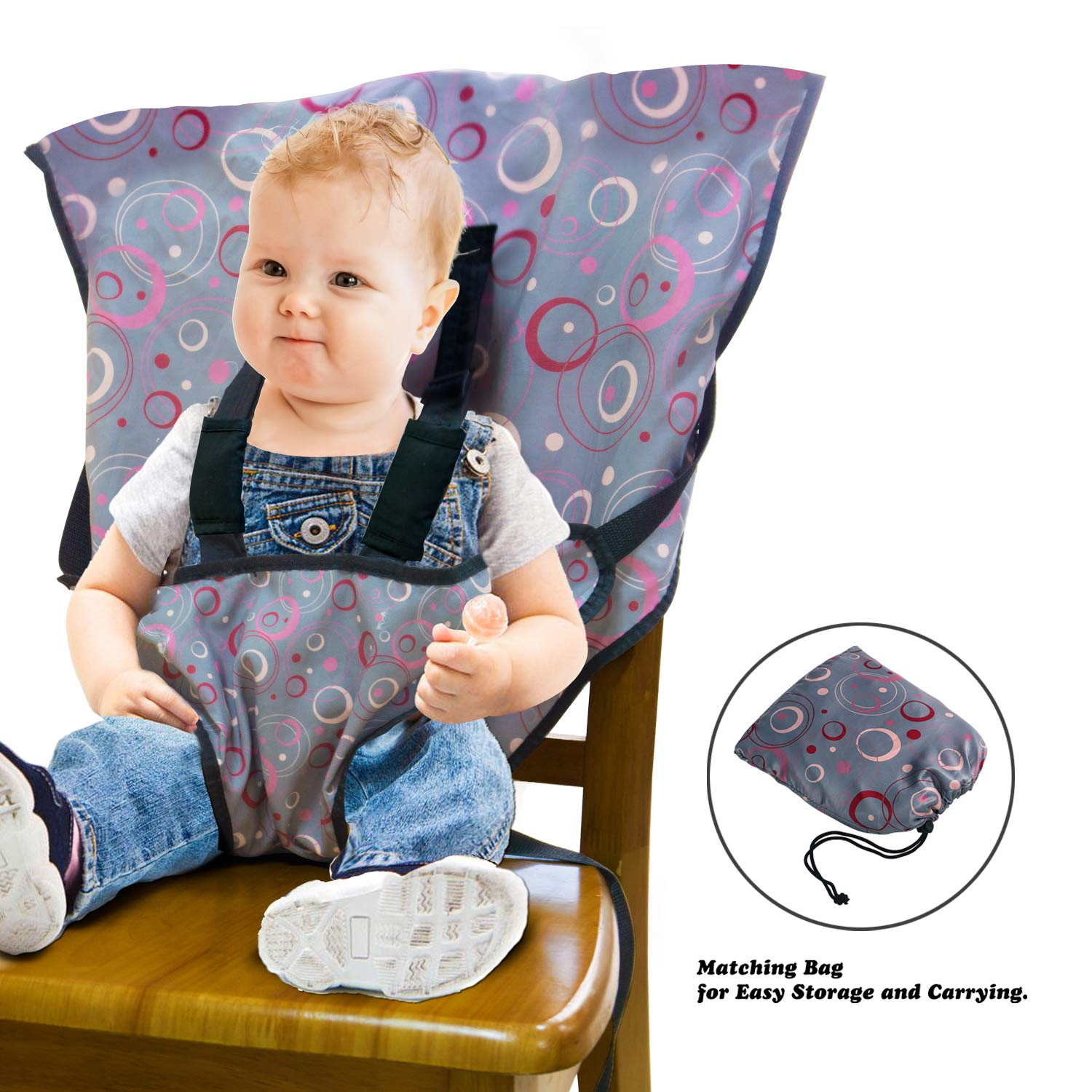 0d11abb2791 Amazon.com   LINPAS Portable Travel Baby High Chair and Feeding Booster Safety  Seat Harness for Infants and Toddlers Washable Cloth (Circles)   Baby