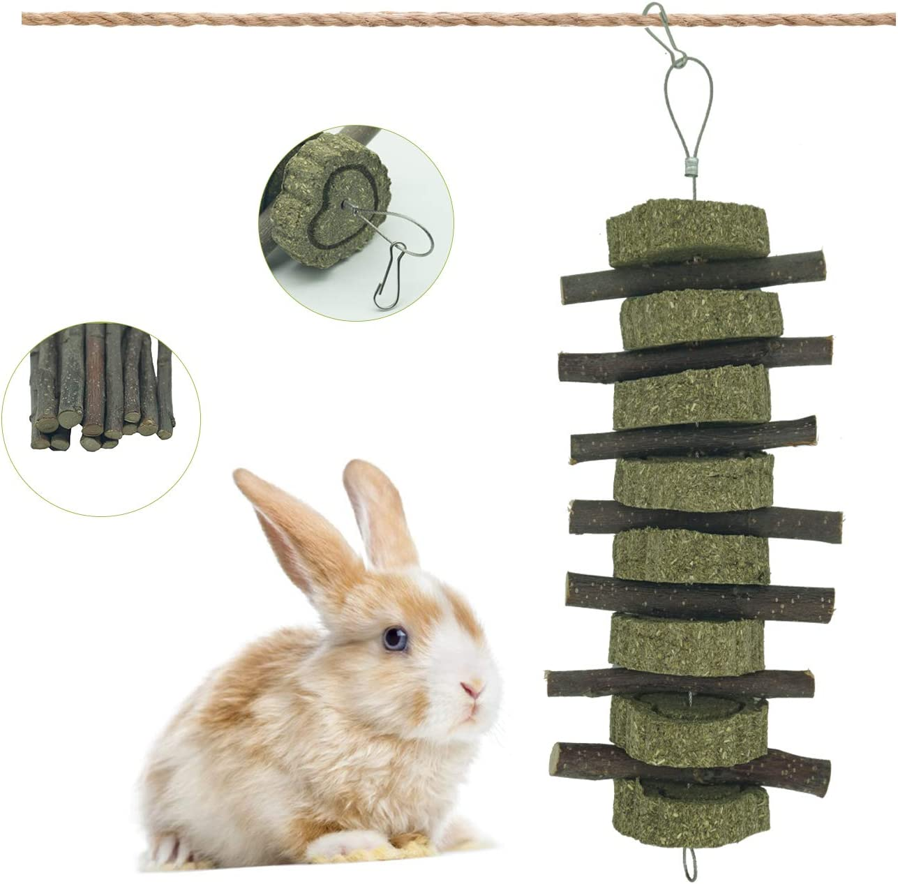 Rabbit Bunny Hanging Chew Toys Apple Sticks with Grass Cake Treats for Hamster Guinea Pigs Chinchilla Small Animals