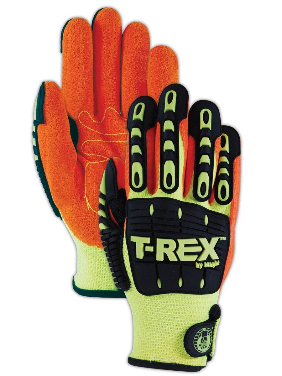 Magid Safety T-REX TRX500XL Glove | Oil & Gas Drilling Impact Polyester Gloves - Cut Level 1, Puncture Level 3, Black/Orange/Hi-Viz Yellow, X-Large (1 Pair)