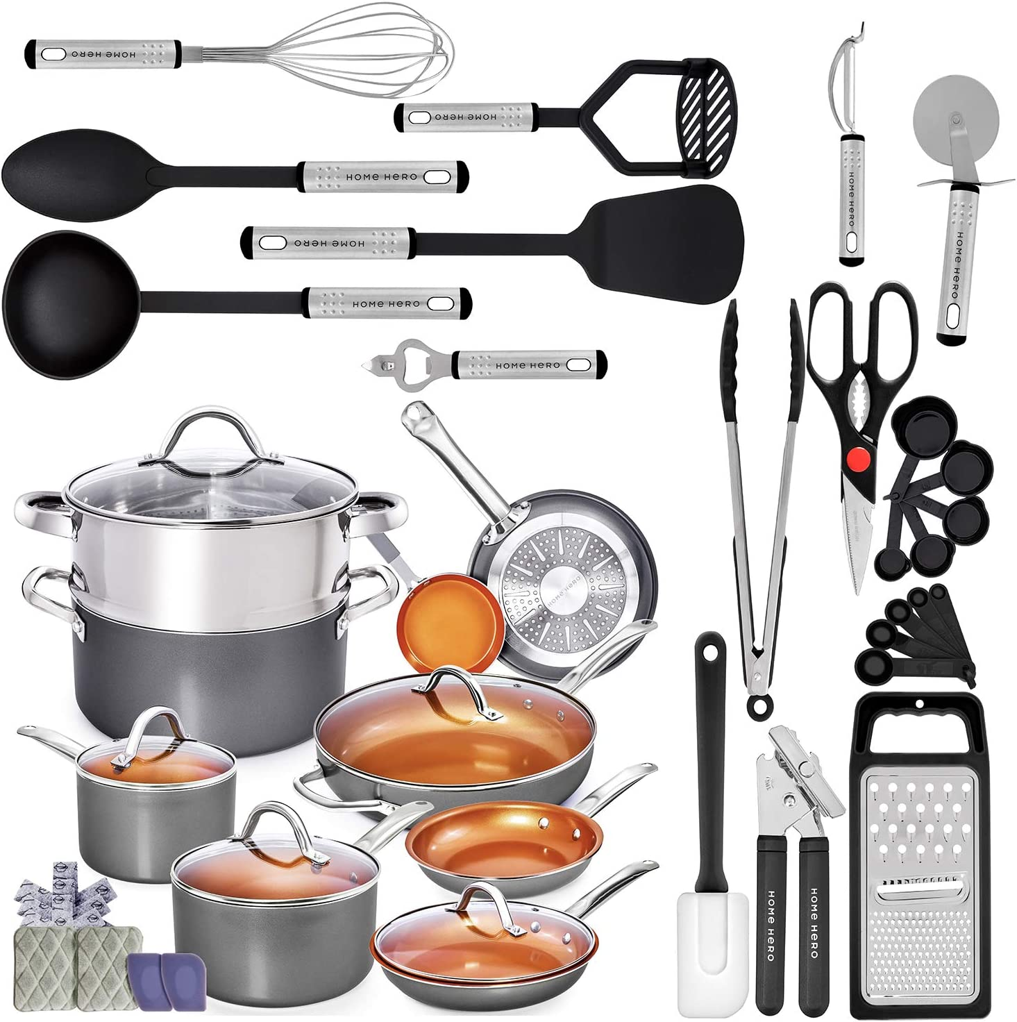 Home Hero Kitchen Bundle | Copper Cookware Set and Nylon Utensils Set